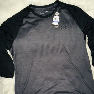 "Under Armour Stone Silver/Blk 3/4"" Sleeves XL & LG"